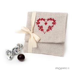 Beige bag with red embroided heart 4 croki-choc