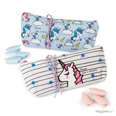 Unicorn pencil case 12 squared candy 2assorted