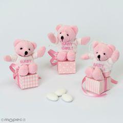 Baby Girl pink bear 3 sugar-coated chocolates SWEET PRICE