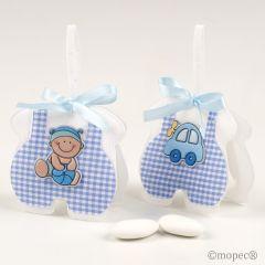 Saquito azul cuadritos bebé/coche, 3 peladillas, stdo.min.2*