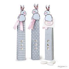 Box squares/dots/stripes 5choc.dragées pink rabbit peg