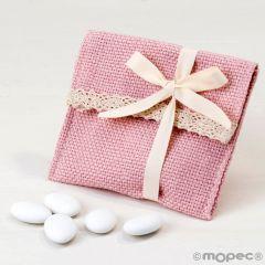 Bolsita algodón rosa con puntilla y velcro,5peladillas choco