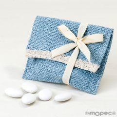 Bolsita algodón azul con puntilla y velcro,5peladillas choco