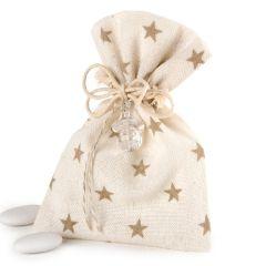 Bolsa algodón estrellas beige chupete 5 peladillas choc.*
