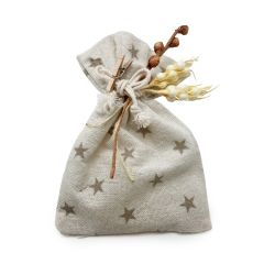 Cotton bag beige stars with 5 sugar-coated chocolats