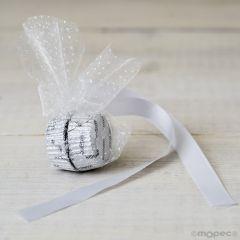 Adorno 2bombones cinta raso/cristal plumeti blanco min.6*