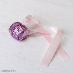 Adorno 2 bombones malva, lazo rosa ,min.6*
