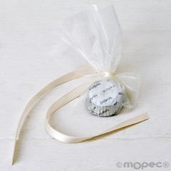 1 Silver chocolate decorated with ivory satin bow