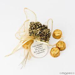 Bouquet dorado Dulce Navidad 3 bombones,min.6*