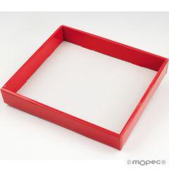 Plateau carton rouge effet vernis 27x24x4,5cm