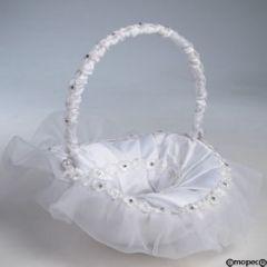 """Cestino bianco fiori """"diamante"""" manico pieghevole 23cm"""