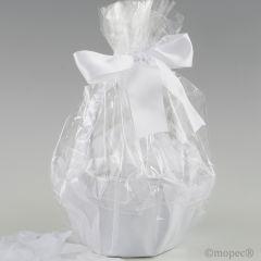 Cesta tul blanco 15cm diám. adornada 288 pétalos blancos