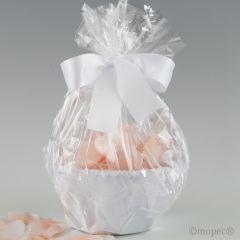 Cesta tul blanco 15cm diám. adornada 288 pétalos rosas