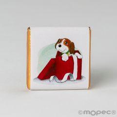 Chocolatinas de chocolate con leche perrito saliendo del regalo