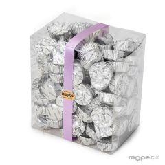 Torinos de chocolate con leche en caja transparente de  850gr . Disponible en varios colores