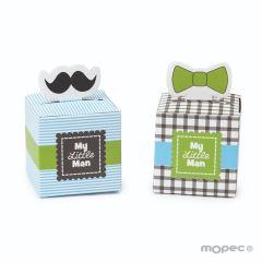 "Caja papel bigote/pajarita ""My Little Man"",mínimo 24"