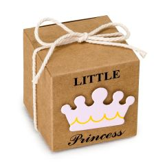 Estuche cúbico kraft  5cm. deco Little Prince azul, min.25