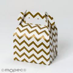 Caja cartón con asa, dibujo chevrón dorado,11x15x8,6cm.