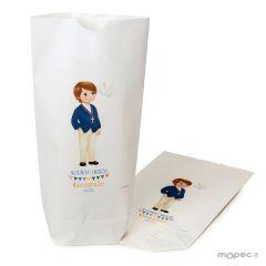 Bolsa papel blanco niño Comunión americana 12x21X5cm.,min.25