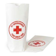 Bolsa papel blanco Kit Supervivencia. Disponible en varios idiomas