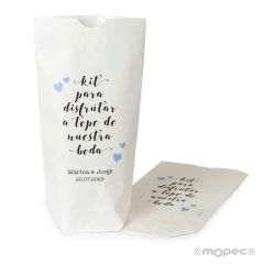 White paper bag Enjoy Kit 12x21x5cm. Available in multiple languages