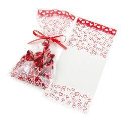 Bag red hearts 12x25cm 100units