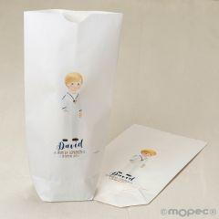 Bolsa papel blanco niño Comunión marinerito12x21X5cm.,min.25