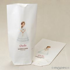 Bolsa papel blanco niña Comunión y rosario 12x21X5cm.min.25