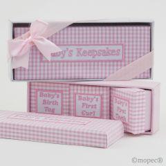 Set 4 cajas vichy caja regalo y lazo