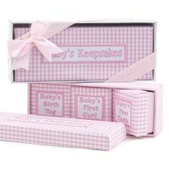 Set 4 scatole ricordi vichy con confezione regalo