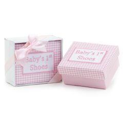 Caja mis 1os. zapatos vichy rosa con caja regalo y lazo