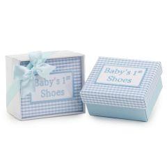 Caja mis 1os. zapatos vichy azul con caja regalo y lazo
