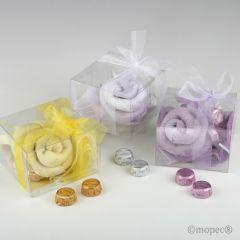 Foulard blanco/lila/amarillo en estuche+lazo 3 torinos,min.3