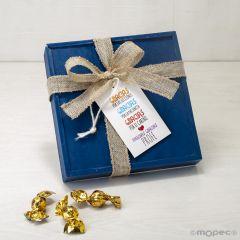 Caja madera azul 30croki-choc y tarjetón gracias profe*