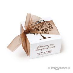 Boîte à papier carrée arbre de vie 6x4x6cm avec 3 chocolats