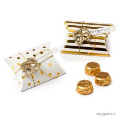 Gold striped / dot 9cm case with 3 chocolates for the 50th wedding anniversary.