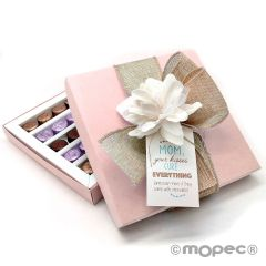 Box 30 chocolates with flower, card and ribbon