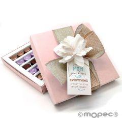 Confezione 30 cioccolatini, fiore, nastro e bigliettino
