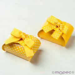Scatola gialla/pois duble-face 3 cioccolatini