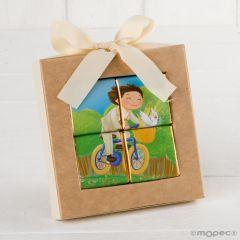 Puzle 4 napolitanas niño Comunión en bici*
