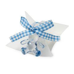 Caja 5peladillas chocolate osito azul cinta vichy*