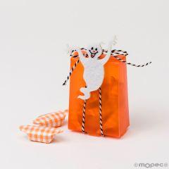 Boîte orange ornée d'un fantôme et avec 8 bonbons