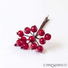 Pomos de 12 frutos rojos navideños para decoración