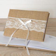 Libro firmas yute y puntilla 25x16cm.(74pag)en caja regalo