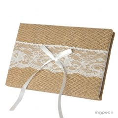 Rustic guestbook 25x16cm(74pag) with gift box