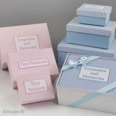 Set 3 cajas vichy azul,caja regalo y lazo