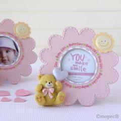 Marco fotos 19cm flor rosa y osito