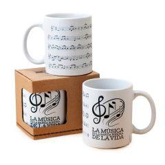 Taza cerámica Partitura musical en caja regalo