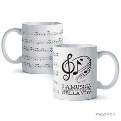 Taza cerámica La musica è la colonna sonora...en caja regalo