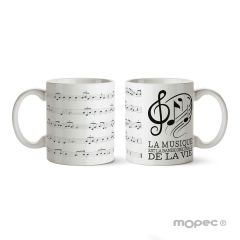 Taza cerámica La musique est la bande originale, caja regalo